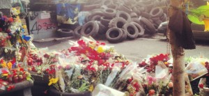 tires and flowers in kiev